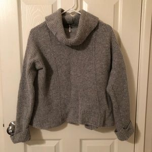 Free People Gray Wool Turtle Neck Sweater Top